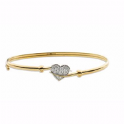 9ct white Gold Cubic Zirconia Ladies Hinged Heart Bangle 3.7g